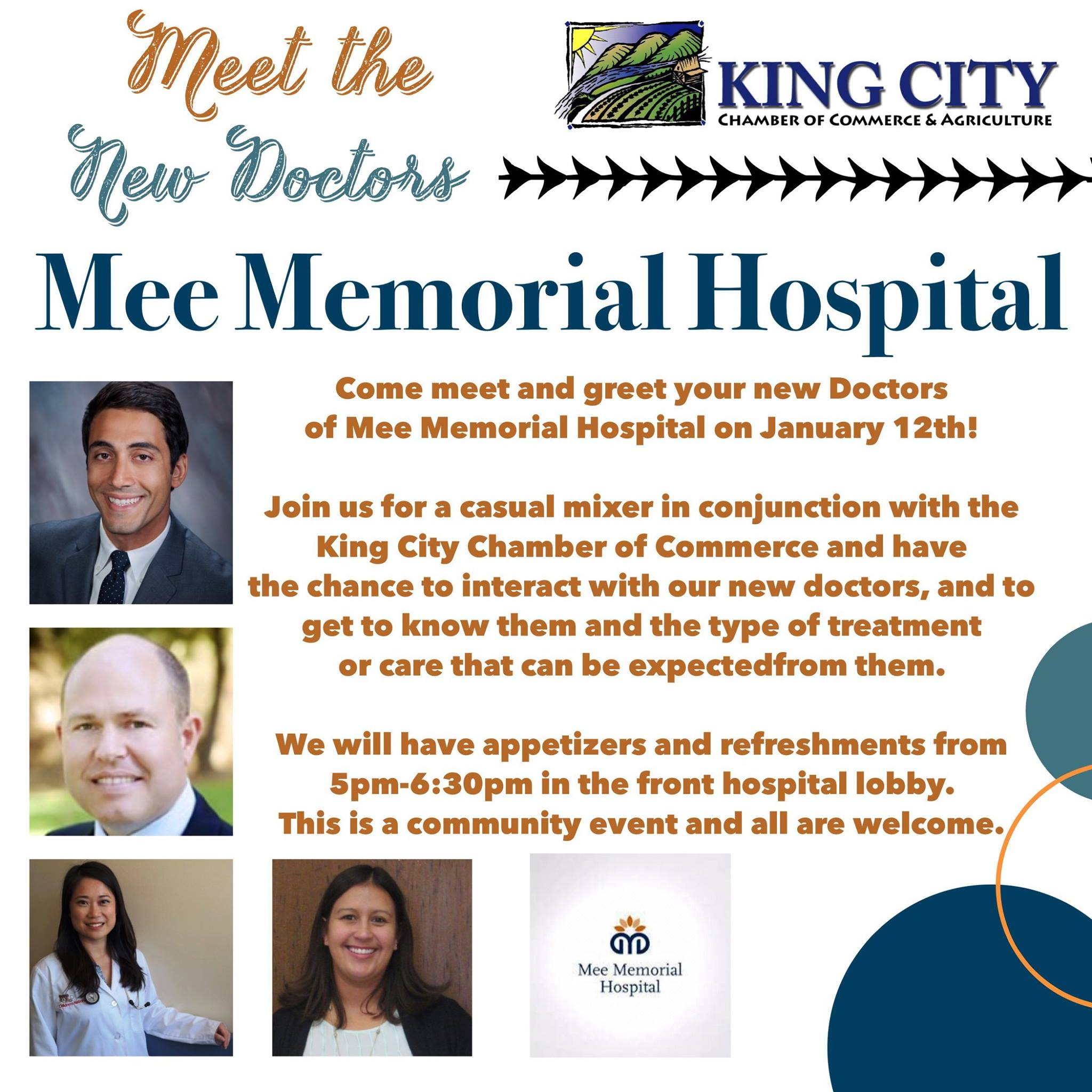 Mee Memorial Hospital would like to welcome new doctors to