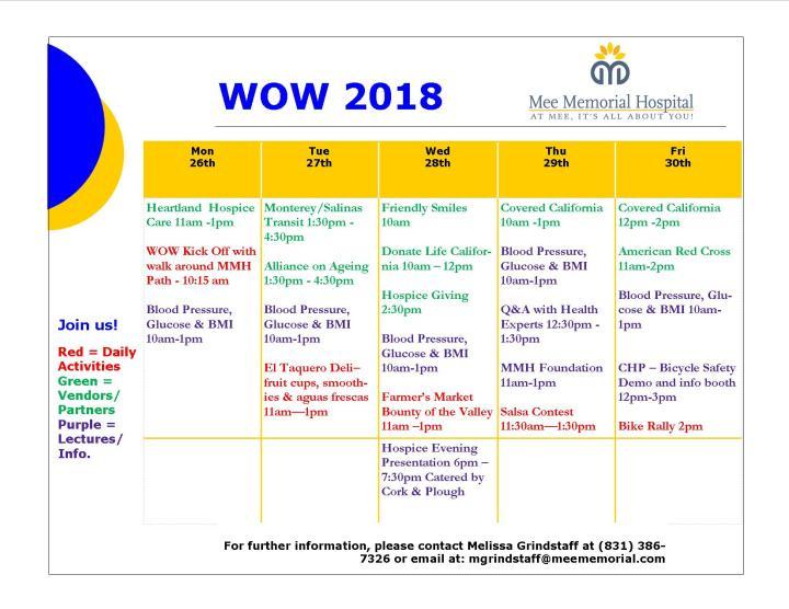 Public WOW Full Calendar 2018